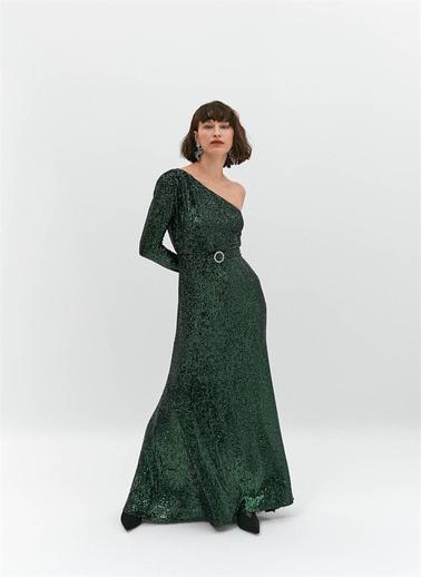 Rue Payetli Tek Omuz Elbise Yeşil